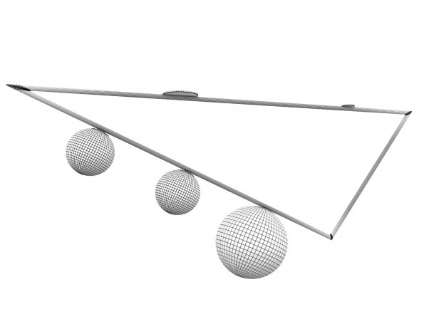Triangle 3 Globes Ceiling Lamp 2