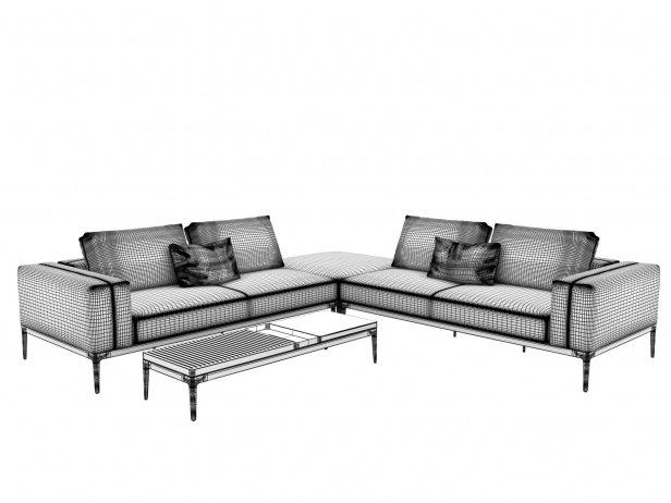 Outdoor Corner Sofa Comp B 3d Model