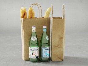 Paper Bags with French Baguettes and S.Pellegrino