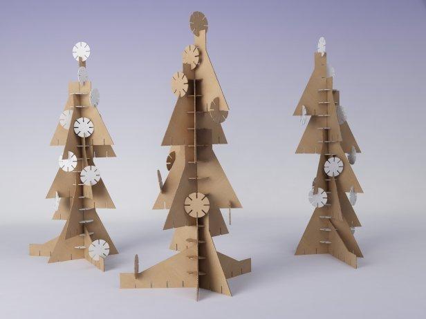 Cardboard Christmas Tree.Cardboard Christmas Tree With Snowflakes