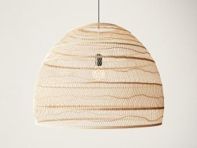 Wicker Hanging Lamp Large