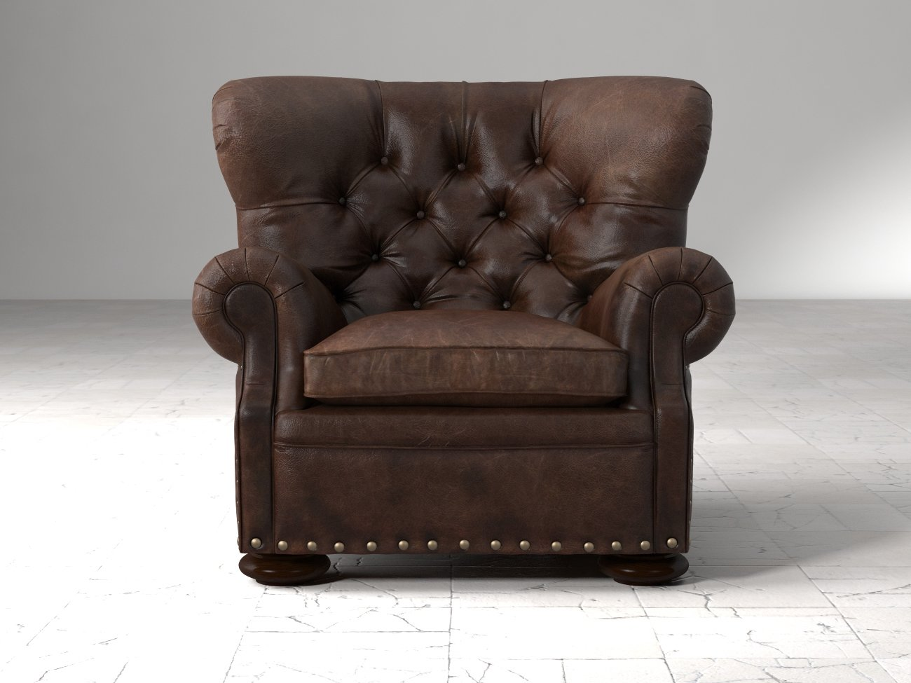 Churchill Leather Chair With Nailheads 3d Model Restoration Hardware