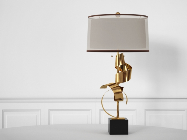 Brass Curls Lamp 1