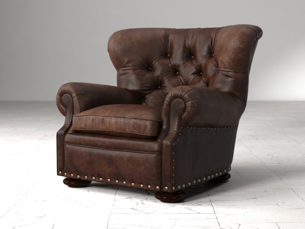 Churchill Leather Chair With Nailheads 3d Model