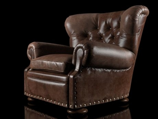 Churchill Leather Chair With Nailheads 3d Model Restoration Hardware Usa