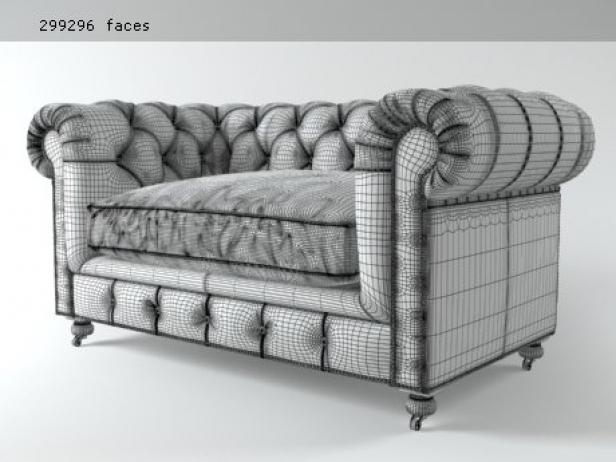 "60"" Kensington Leather Sofa 3d Model"
