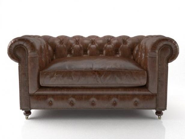 60 kensington leather sofa 3d modell restoration hardware. Black Bedroom Furniture Sets. Home Design Ideas