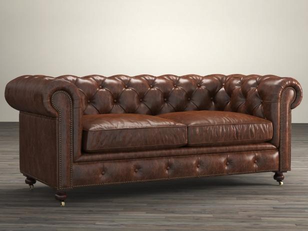 72 Quot The Petite Kensington Leather Sofa 3d Model