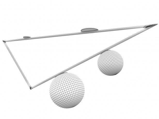 Domestic Triangle 2 Globes Ceiling Lamp 2