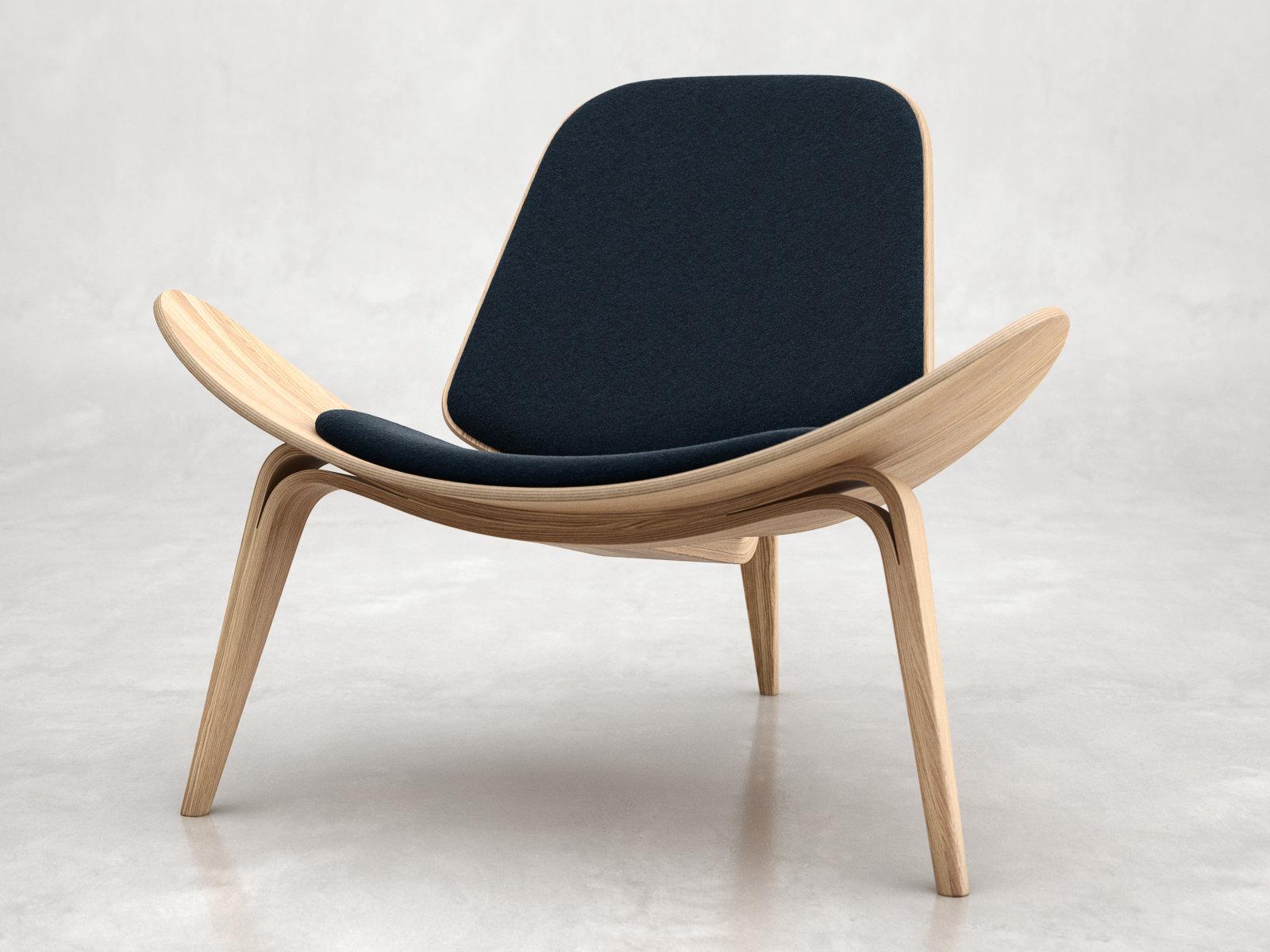 Ch07 shell chair 3d model carl hansen for Furniture 3d design