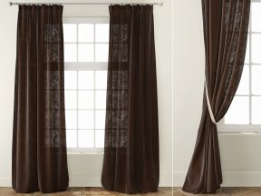Country Solid Coffee Linen Curtains
