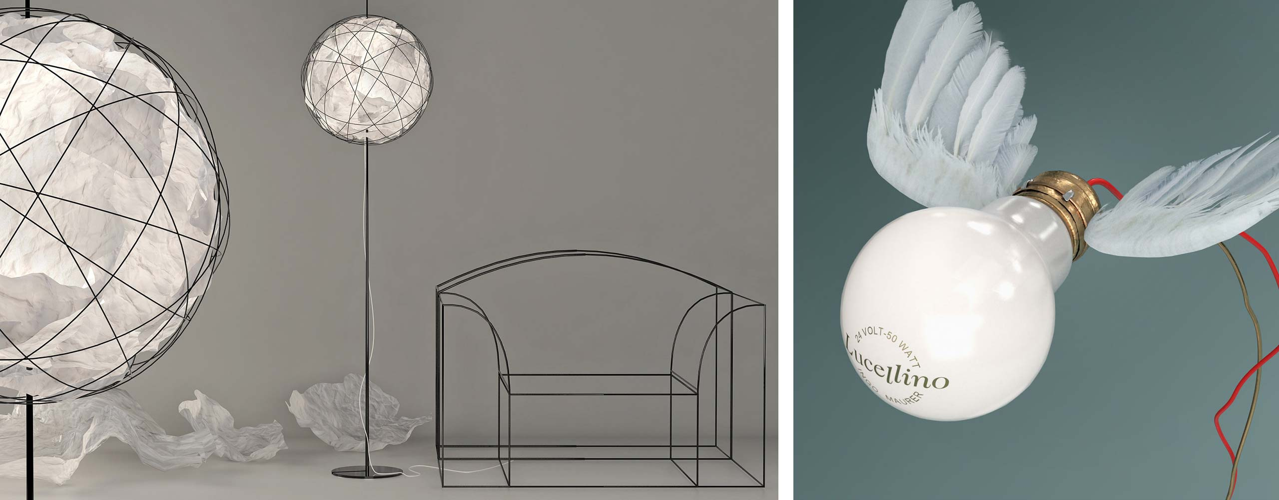Ingo Maurer's cult KNÜLLER and LUCELLINO lamps - 3d models and CGI by Design Connected