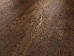 Dark Heavy Brushed Oak Flooring with Veins Charact