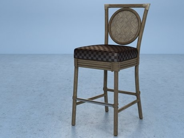 Salon barstool o 322 3d modell mcguire furniture company for Barhocker 3d model