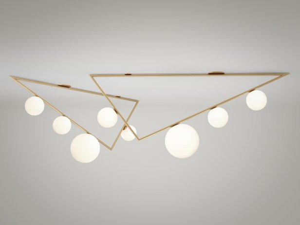 Triangle 3+1 Globes Ceiling Lamp 1