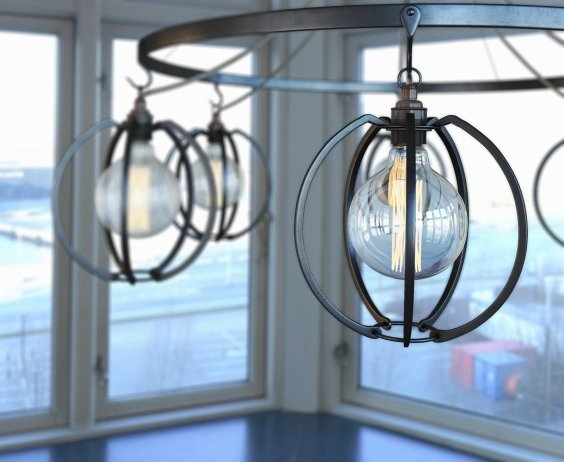 Farrier's Cage Six Circle Globe Chandelier 3