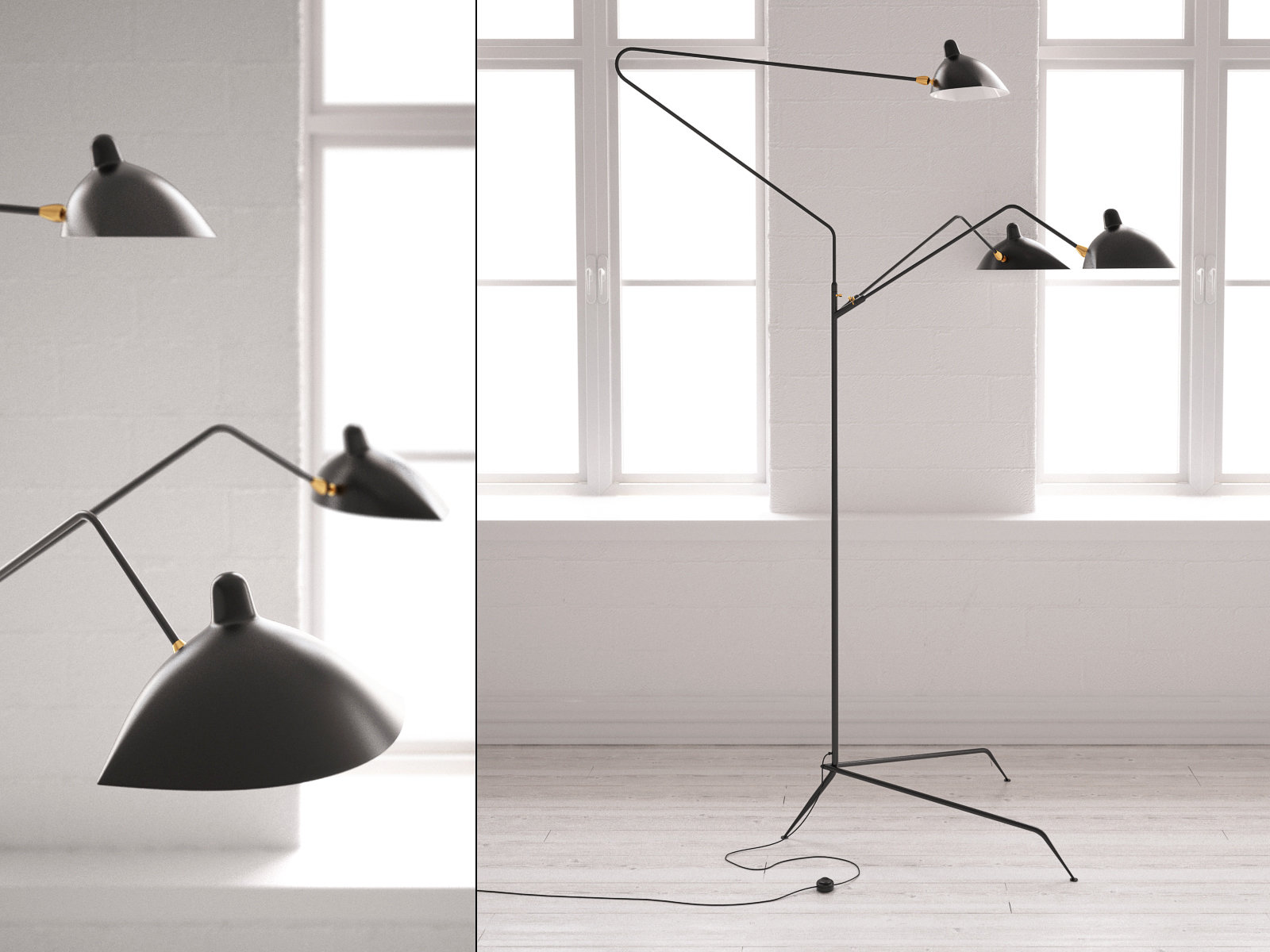 Three arm floor lamp 3d model serge mouille Serge mouille three arm floor lamp