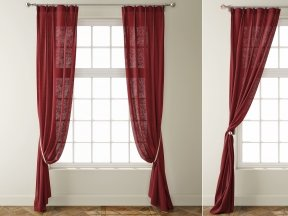 Country Solid Burgundy Linen Curtains