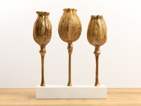 Poppy Pod Sculpture Trio Gold