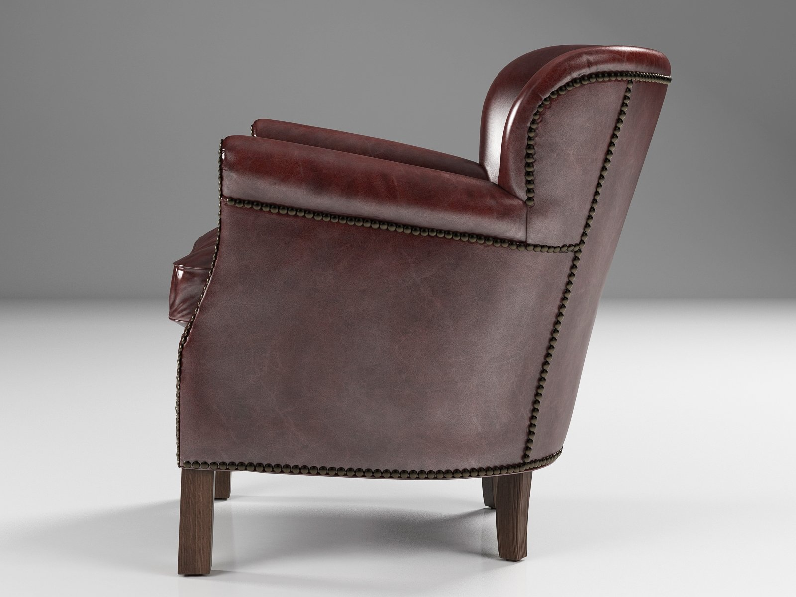 Professor 39 S Leather Chair With Nailheads 3d Model Restoration Hardware