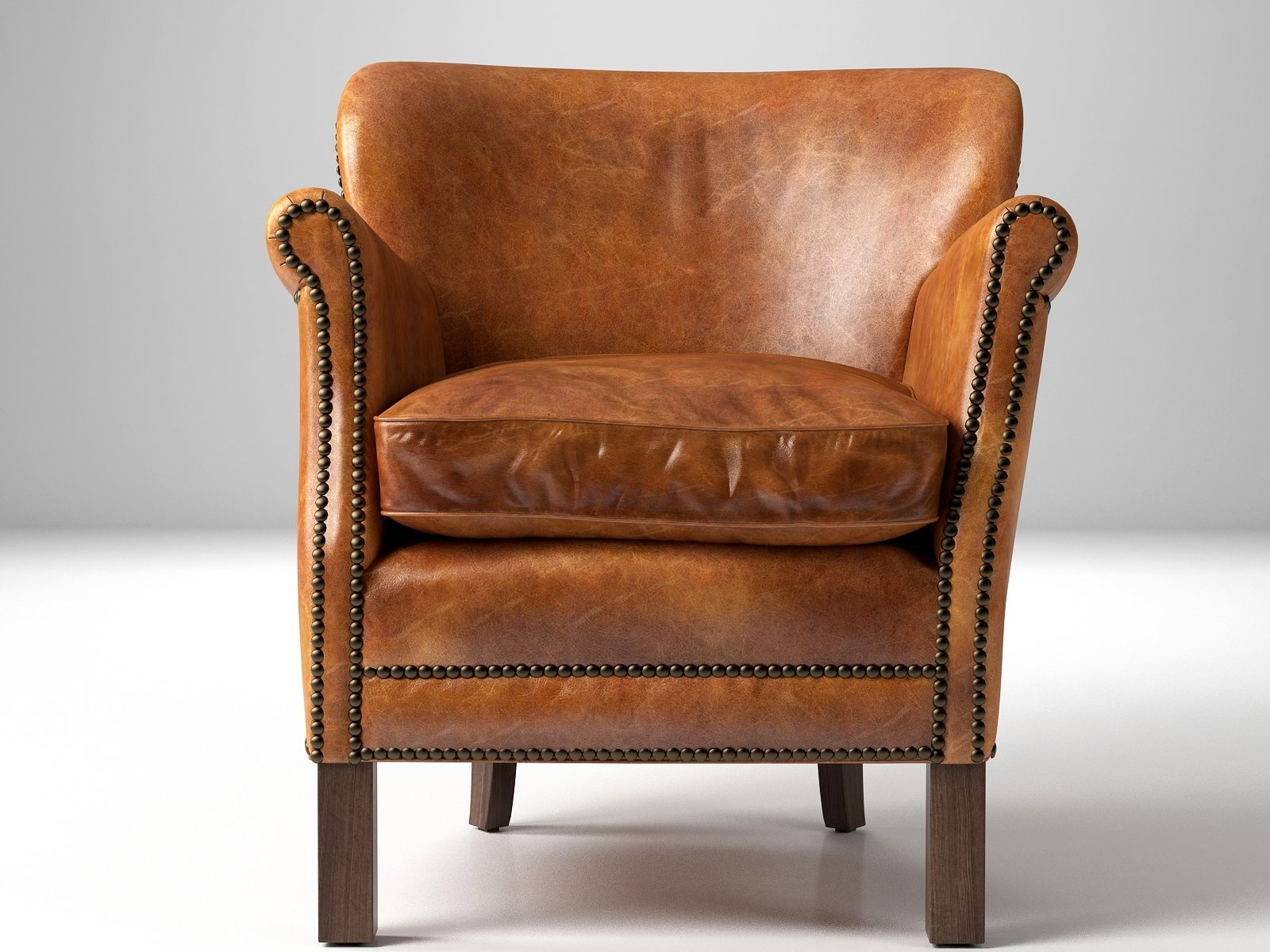 Professor 39 S Leather Chair With Nailheads 3d Model