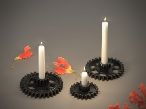 BOCONCEPT Gear Black Candlesticks