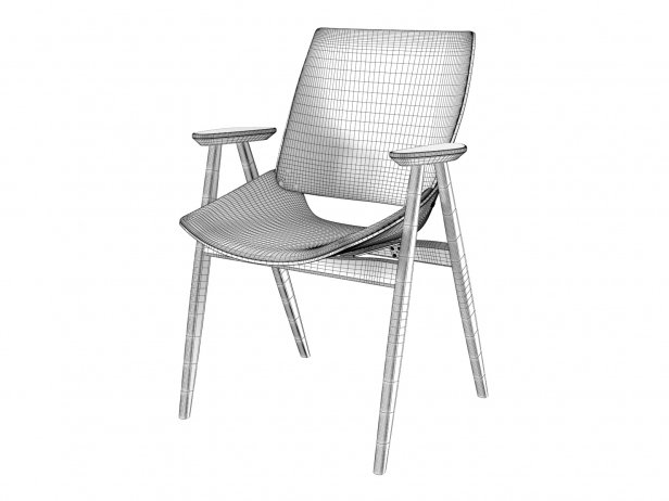 Shell Wood Armchair Upholstered Seat and Back 6