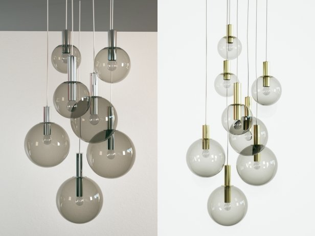 Brass and Smoked Glass Ceiling Lights 1