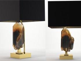 Smoky Rock Crystal and Bronze Lamp