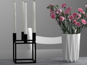Pink Carnations and Candle Holder